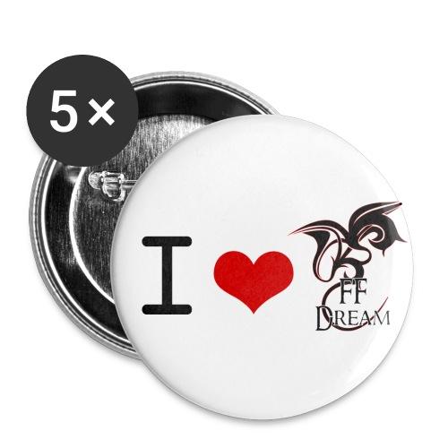 I Love FFDream - Lot de 5 petits badges (25 mm)