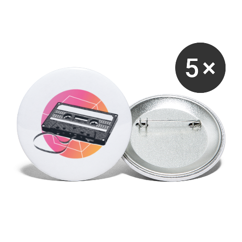 80s Vintage Cassette - Buttons small 1''/25 mm (5-pack)