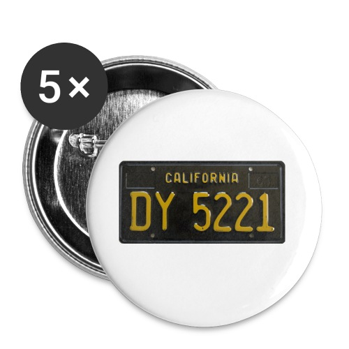 CALIFORNIA BLACK LICENCE PLATE - Buttons small 1''/25 mm (5-pack)