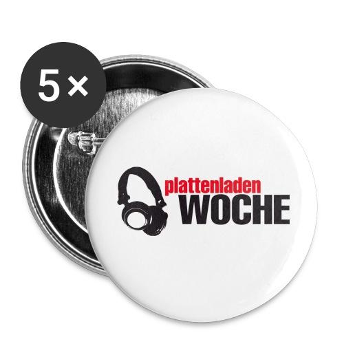plattenwoche_schwarz_rot - Buttons klein 25 mm (5er Pack)