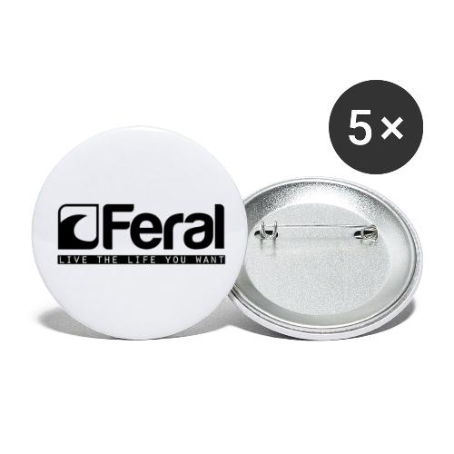 Feral Surf - Live the Life - Black - Buttons small 1''/25 mm (5-pack)