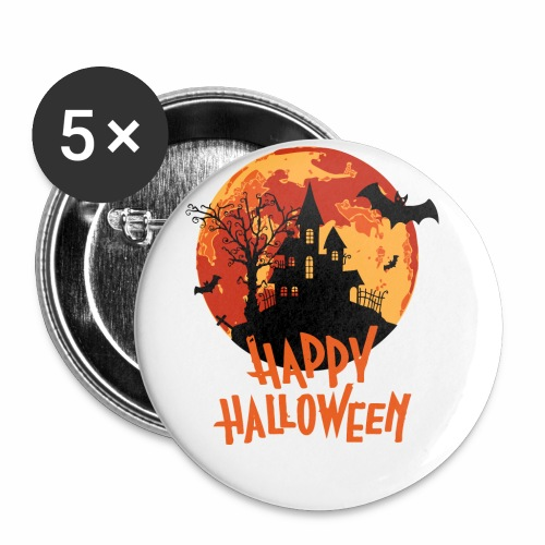 Bloodmoon Haunted House Halloween Design - Buttons klein 25 mm (5er Pack)