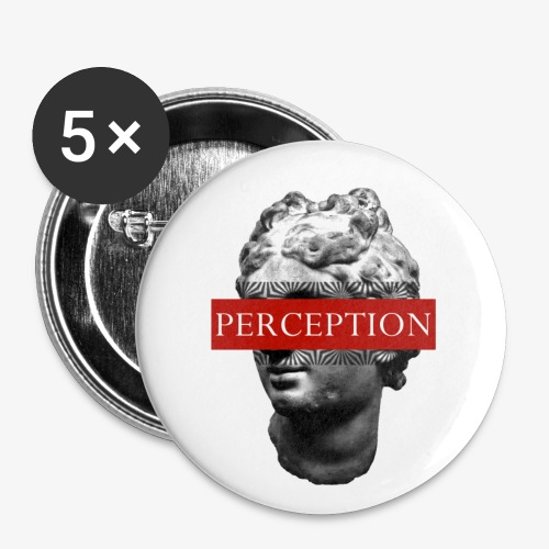 TETE GRECQ RED - PERCEPTION CLOTHING - Lot de 5 petits badges (25 mm)