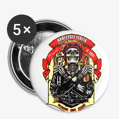 Teschio con casco, birra e chiave inglese - Confezione da 5 spille piccole (25 mm)