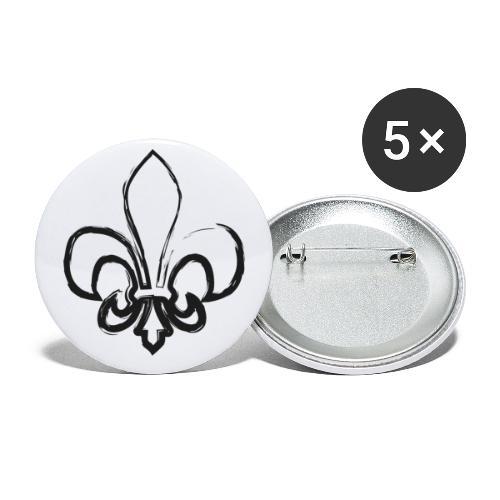Pinselzeichnung Lilie – Schwarz - Buttons klein 25 mm (5er Pack)