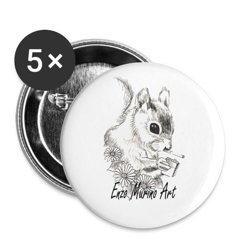 Ecureuil la clope - Lot de 5 petits badges (25 mm)