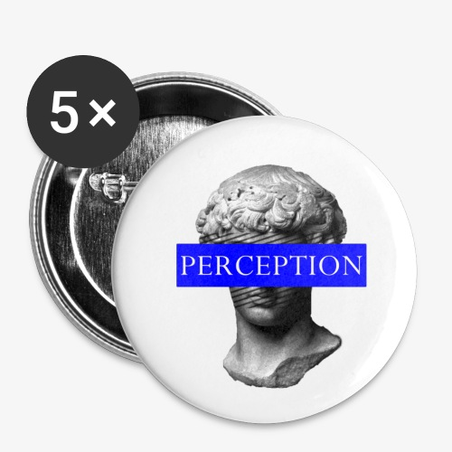 TETE GRECQ BLUE - PERCEPTION CLOTHING - Lot de 5 petits badges (25 mm)