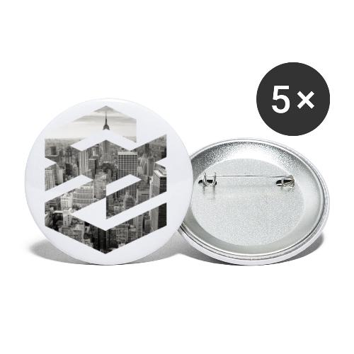 NewYork Manhatten EmpireState Geometische Form - Buttons klein 25 mm (5er Pack)