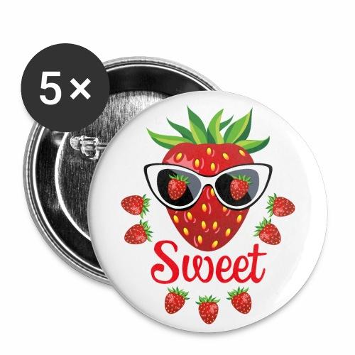 55 Erdbeere Sweet Sonnenbrille - Buttons klein 25 mm (5er Pack)