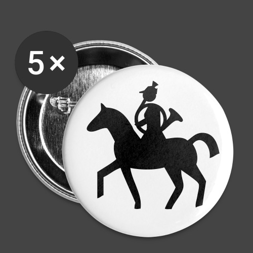 Parforcehornbläserin zu Pferd-Shirt für Jägerinnen - Buttons klein 25 mm (5er Pack)