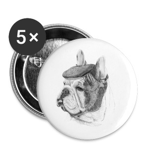 French Bulldog w/beret - Buttons/Badges lille, 25 mm