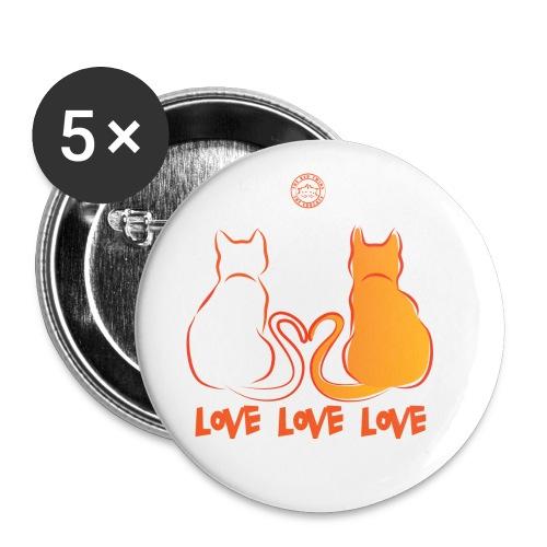 The Red Twins LOVE LOVE LOVE 2 - Confezione da 5 spille piccole (25 mm)
