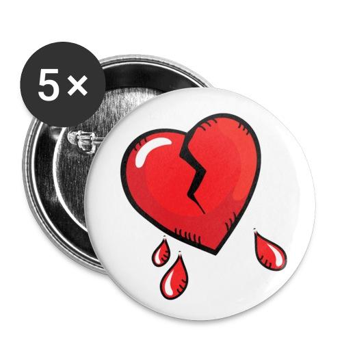Broken Heart - Buttons small 1''/25 mm (5-pack)