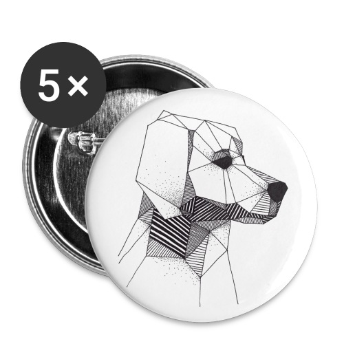 Golden Retriever Geometrisch Zwart - Buttons klein 25 mm (5-pack)