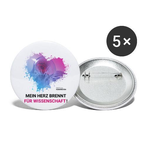 Mein Herz brennt für Wissenschaft! - Buttons klein 25 mm (5er Pack)