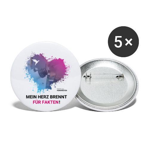 Mein Herz brennt für Fakten! - Buttons klein 25 mm (5er Pack)