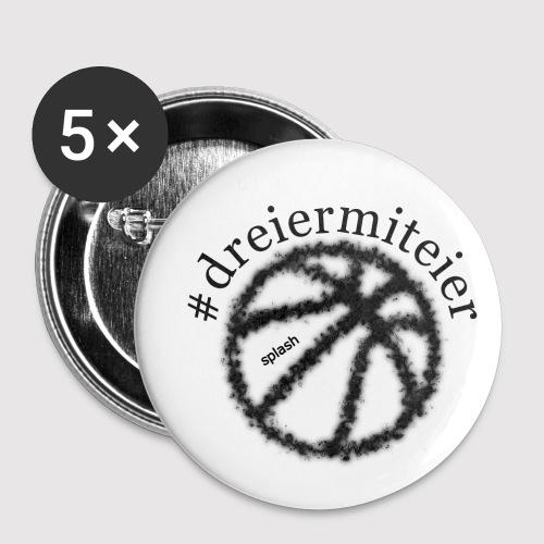 dreiermiteier schwarz - Buttons klein 25 mm (5er Pack)