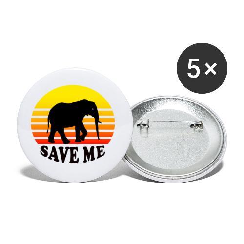 Elefant SAVE ME Schattenriss Sonne - Buttons klein 25 mm (5er Pack)