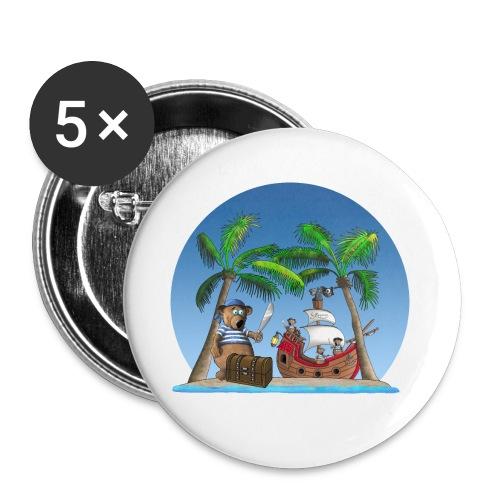 Pirat - Piratenschiff - Schatzinsel - Buttons klein 25 mm (5er Pack)