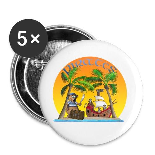 Piraten - Schatz - Buttons klein 25 mm (5er Pack)