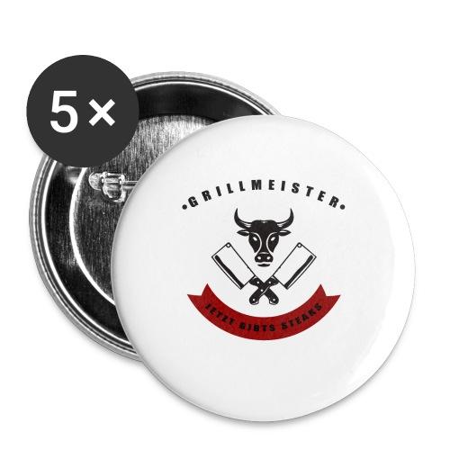 GRILLMEISTER Jetzt gibts Steaks tshirt - Buttons klein 25 mm (5er Pack)