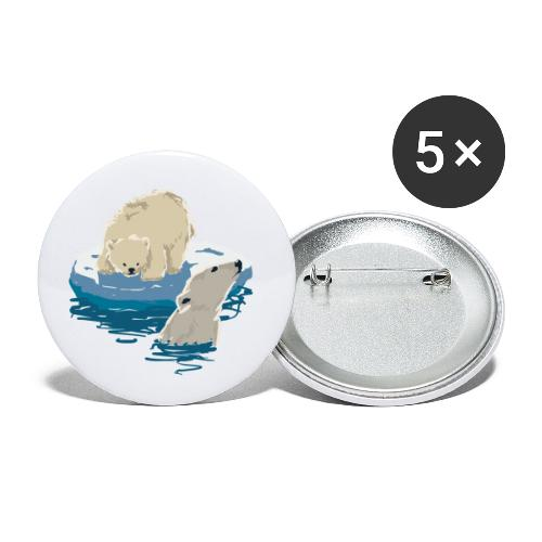 Polar bears - Buttons small 1''/25 mm (5-pack)