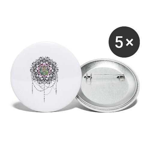 Mandala Bijou MaitriYoga - Lot de 5 petits badges (25 mm)