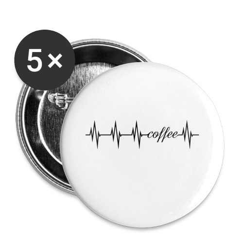 coffee Herzlinie - mein Herz schlägt für Kaffee - Buttons klein 25 mm (5er Pack)