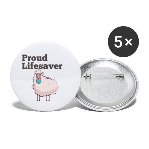 Schlafschafe retten Leben mit Mundschutz - Buttons klein 25 mm (5er Pack)