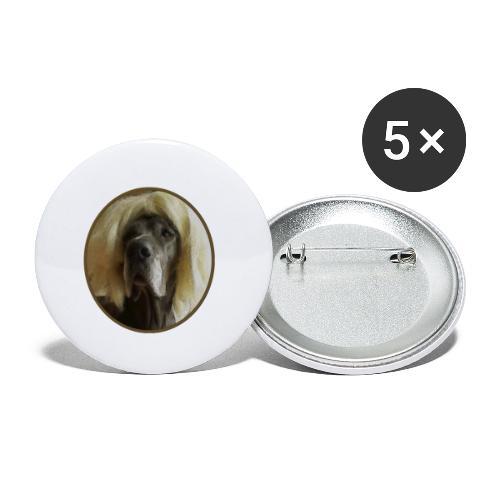 D O G G E mit Perücke - Buttons klein 25 mm (5er Pack)