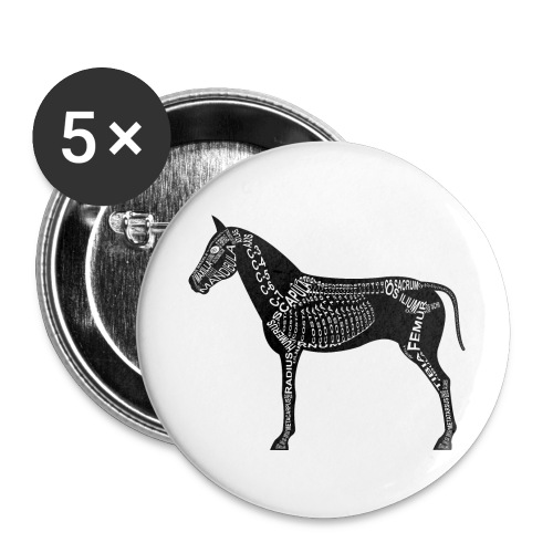 paard skelet - Buttons klein 25 mm (5-pack)
