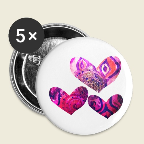 Traumhafte Herzen in pink - Buttons klein 25 mm (5er Pack)