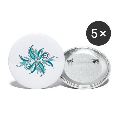 petali e foglie astratte - Confezione da 5 spille piccole (25 mm)