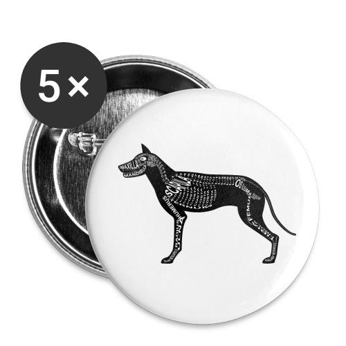 Dog skeleton - Buttons klein 25 mm (5-pack)