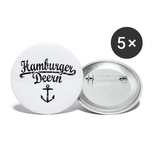 Hamburger Deern Klassik (Vintage Schwarz) Hamburg - Buttons klein 25 mm (5er Pack)