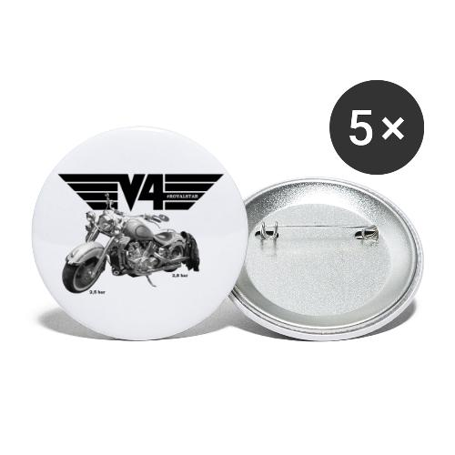 V4 Motorcycles black Wings - Buttons klein 25 mm (5er Pack)