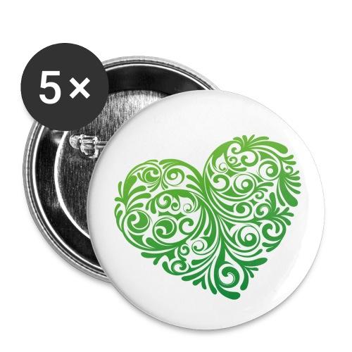 floral heartlogo png - Buttons klein 25 mm (5er Pack)