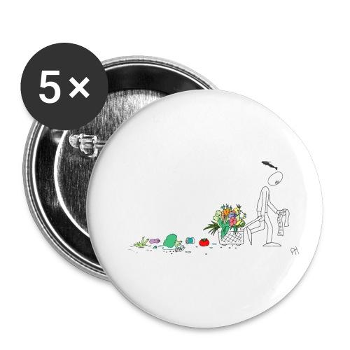 frukt og grønt handleveske - Liten pin 25 mm (5-er pakke)