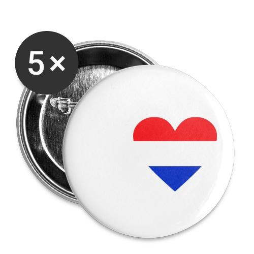 Ik hou van Nederland | Hart met rood wit blauw - Buttons klein 25 mm (5-pack)