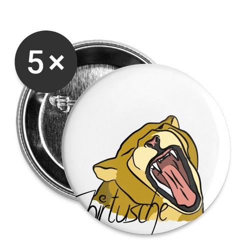Gähnender / brüllender Löwe - Buttons klein 25 mm (5er Pack)