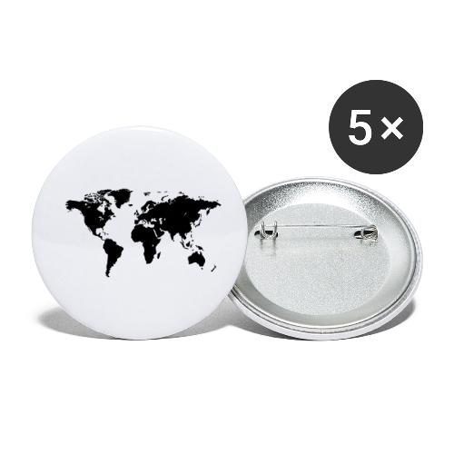 World Map - Buttons klein 25 mm (5er Pack)
