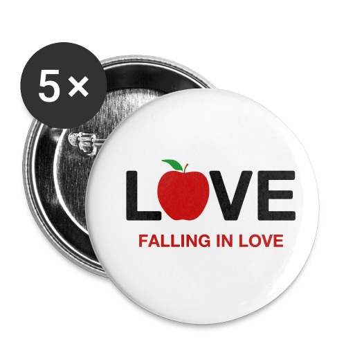 Falling in Love - Black - Buttons small 1''/25 mm (5-pack)