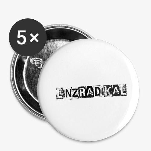 Linzradikal schwarz - Buttons klein 25 mm (5er Pack)