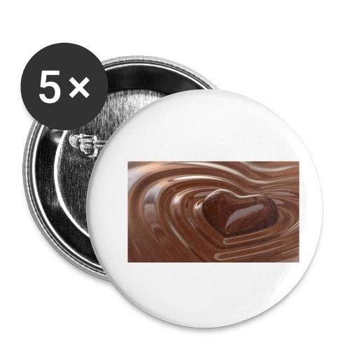 Choklad T-shirt - Små knappar 25 mm (5-pack)