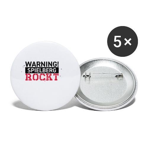 WARNING - Spielberg rockt! - Buttons klein 25 mm (5er Pack)