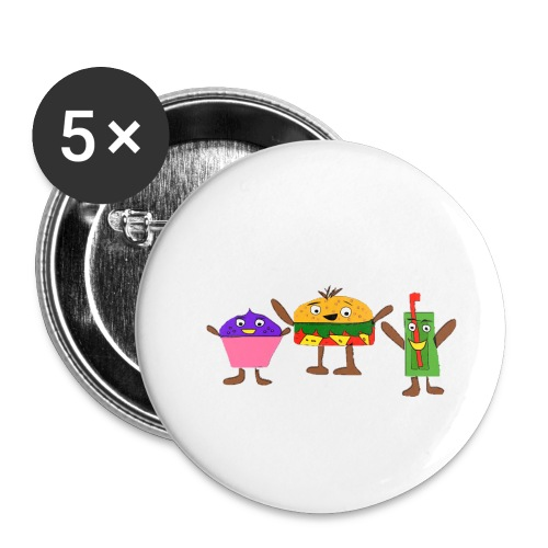 Fast food figures - Buttons small 1''/25 mm (5-pack)