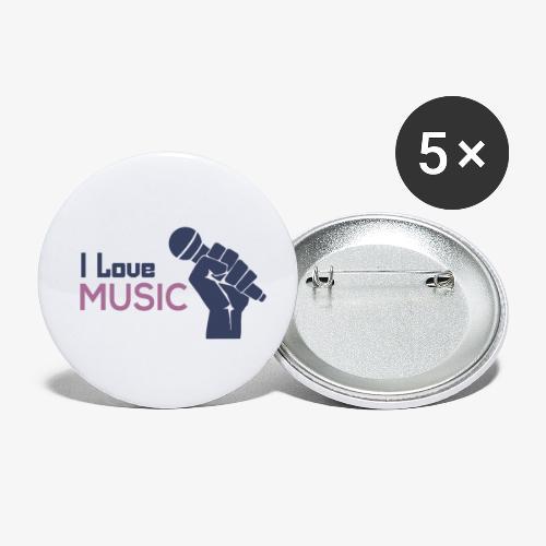 Amo la música - Paquete de 5 chapas pequeñas (25 mm)