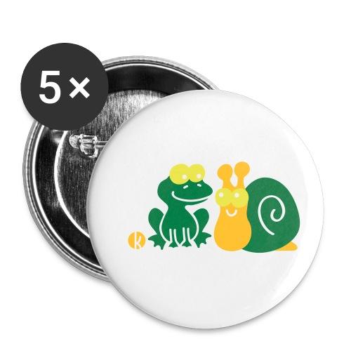 Frosch und Schnecke (c2) Freundschaft - Buttons klein 25 mm (5er Pack)
