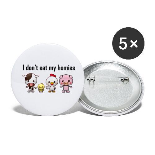 I don't eat my homies svart - Små knappar 25 mm (5-pack)