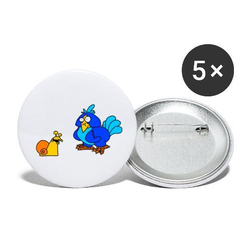 Schnecke und Vogel von dodocomics - Buttons klein 25 mm (5er Pack)